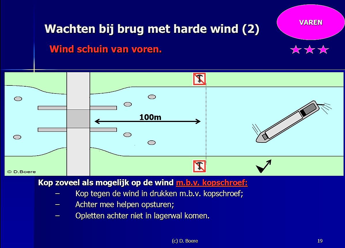Training mondeling grootvaarbewijs binnenvaart schipper bij aflosschipper Dirk Boere.