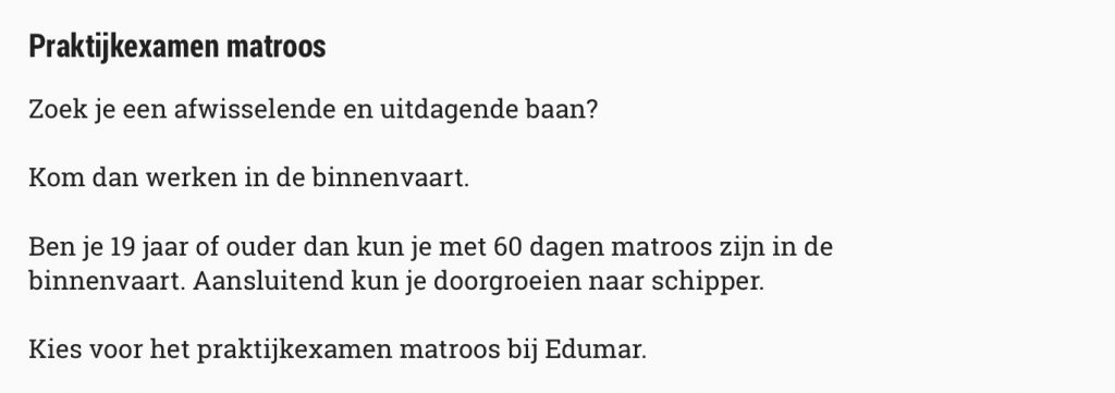 Matroos in 60 dagen, doe het praktijkexamen matroos bij Edumar.
