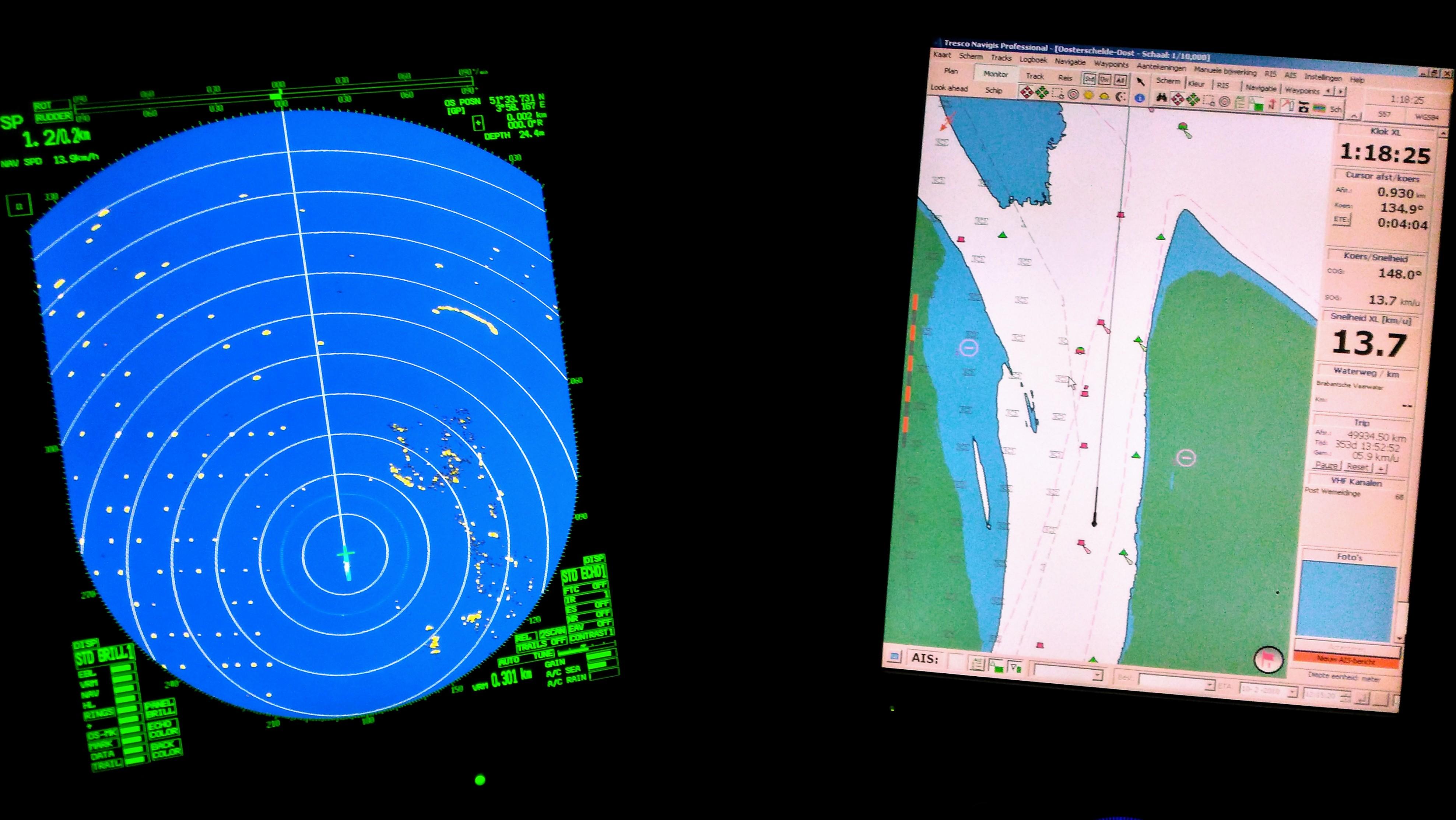 Training navigatie 2 GrootVaarbewijs. Oosterschelde, Westerschelde, Koers en plaatst bepalen, hydrografie en meteorologie.